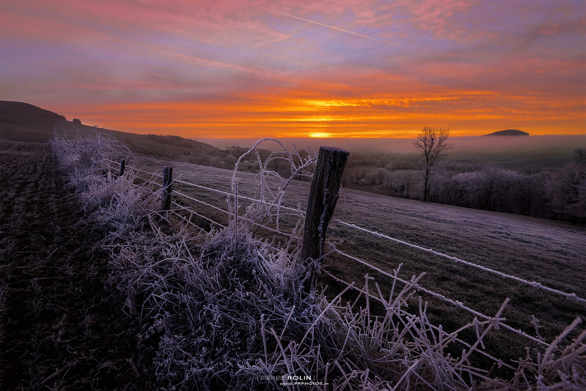 Lever de soleil dans la brume – Lorraine   Paysages diurnes