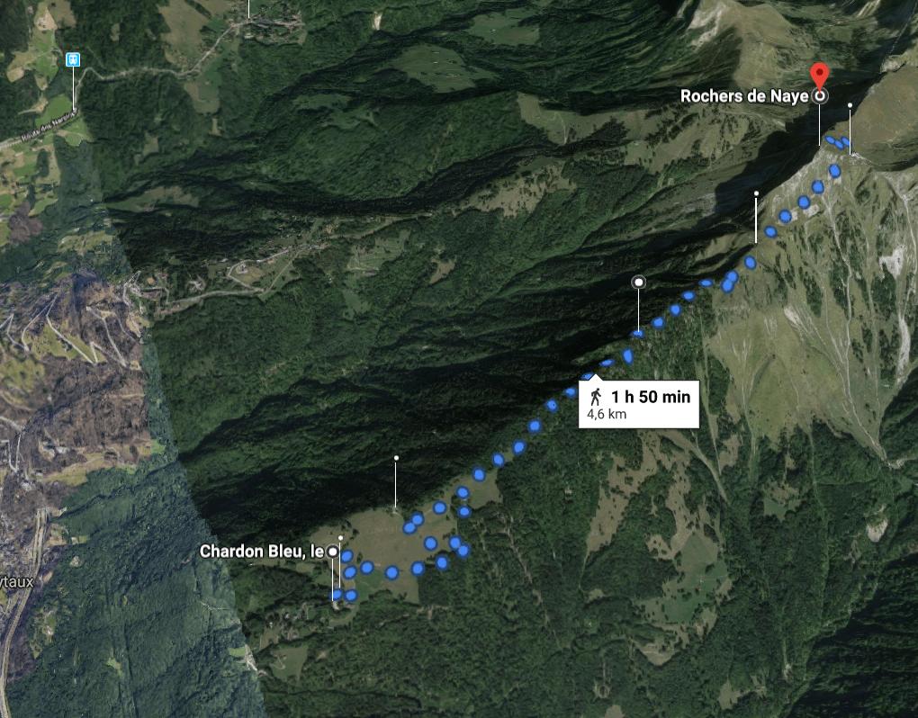 Vue 3D du tracé retenu, en ligne de crête © Google Maps - Suisse / Lac Léman