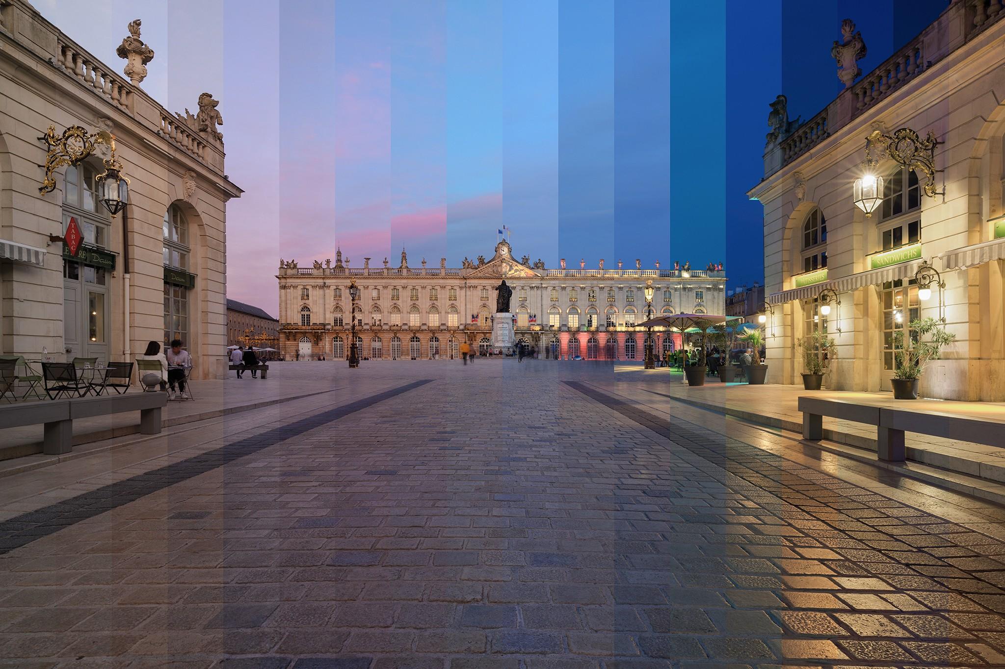 Jour / nuit en 18 étapes, 1h20 entre l'image de gauche et celle de droite | Place Stanislas © Pierre ROLIN - Photographe Nancy - Lorraine / Grand Est